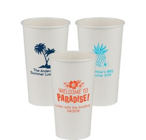 Personalized Luau Paper Cups 20oz