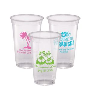 Personalized Luau Plastic Party Cups 20oz