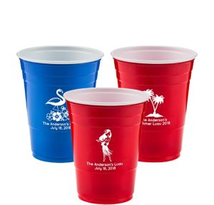 Personalized Luau Solid-Color Plastic Party Cups 16oz