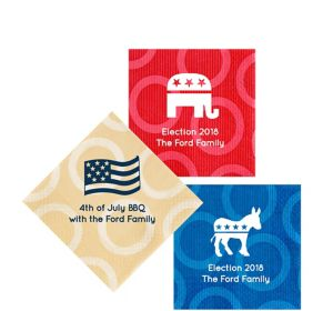 Personalized 4th of July Circles Beverage Napkins