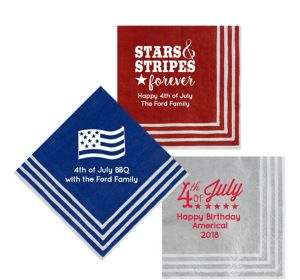 Personalized 4th of July Stripe Border Lunch Napkins