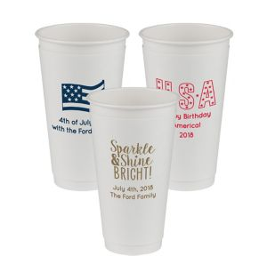 Personalized 4th of July Insulated Paper Cups 16oz