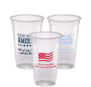 Personalized 4th of July Plastic Party Cups 20oz