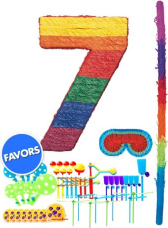 Rainbow Number 7 Pinata Kit with Favors