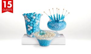 Caribbean Blue Candy Buffet Kit with Containers for 15 Guests