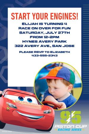 Custom Cars 3 Photo Invitation