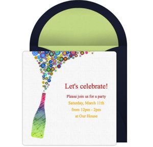 Online Champagne Pop Light Invitations
