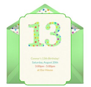 Online 13th Birthday Dots Invitations