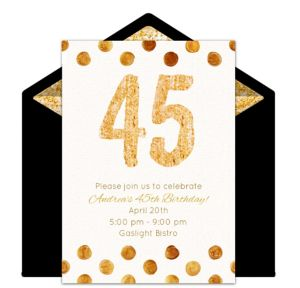 Online Golden 45 Invitations
