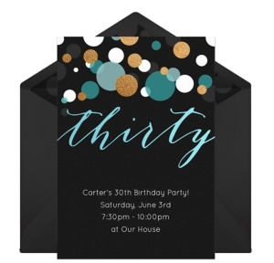 Online Thirty Blue Invitations