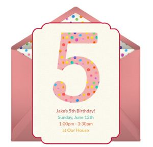 Online 5th Birthday Dots Boy Invitations