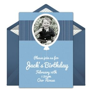 Online Birthday Balloon Frame - Blue Photo Invitations