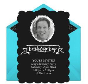 Online Fancy Birthday Boy - Blue Photo Invitations