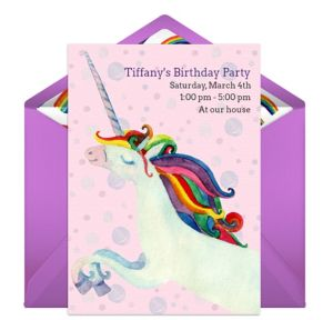 Online Rainbow Unicorn Invitations