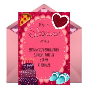 Online Birthday Sleepover Invitations