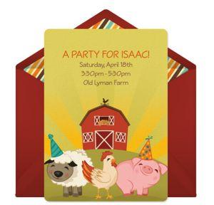 Online Farmyard Animals Invitations
