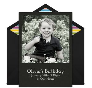 Online Birthday - Black Photo Invitations