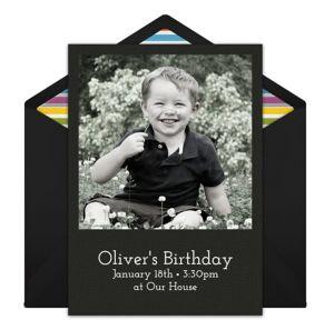 Online Birthday - Black Photo Invitations