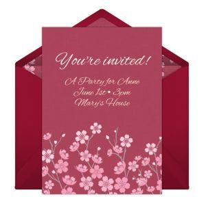Online Wild Flowers - Pink Invitations