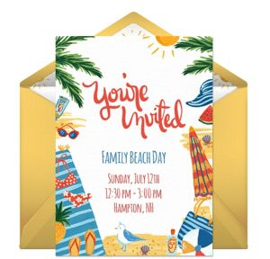 Online Day at the Beach Invitations