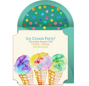 Online Ice Cream Watercolor Invitations