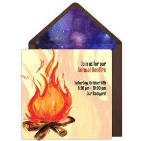 Online Cozy Bonfire Invitations