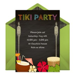 Online Tiki Chalkboard Invitations