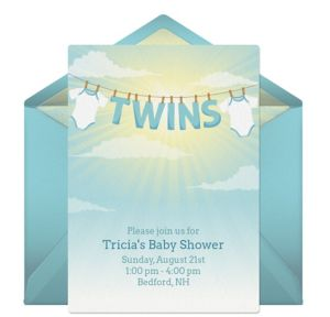 Online Twins Baby Shower - Blue Invitations