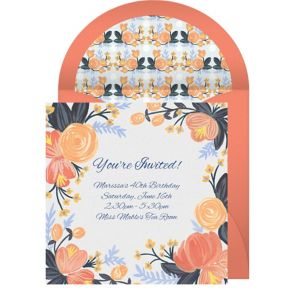 Online Peach Blossoms Invitations
