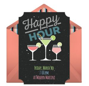 Online Happy Hour Drinks Invitations