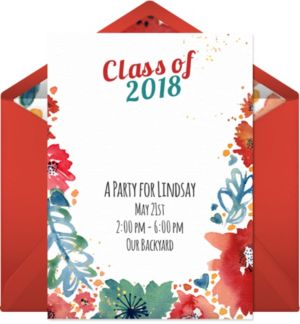Online Floral Graduation Invitations