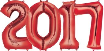 Giant Red 2017 Number Balloons 4pc
