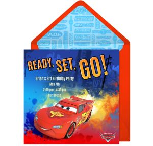 Online Cars Lightning McQueen Invitations