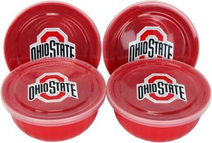Ohio State Buckeyes Bowls with Lids 4ct