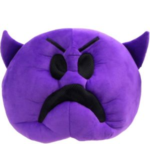 Oversized Frowning Purple Devil Icon Mask