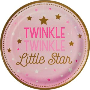 Pink Twinkle Twinkle Little Star Lunch Plates 8ct