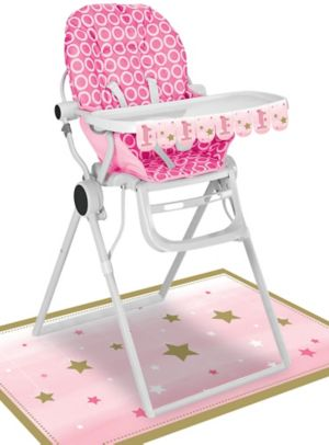 Pink Twinkle Twinkle Little Star 1st Birthday High Chair Decorating Kit 2pc