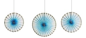 Silver & Blue Ombre Paper Fan Decorations 3ct