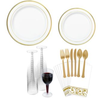 Premium White Gold-Trimmed Tableware Kit for 20 Guests