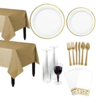 Premium White Gold-Trimmed Deluxe Tableware Kit for 20 Guests