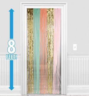 Pastel & Gold Fringe Doorway Curtain