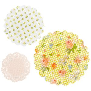 Floral Tea Party Round Doilies 24ct
