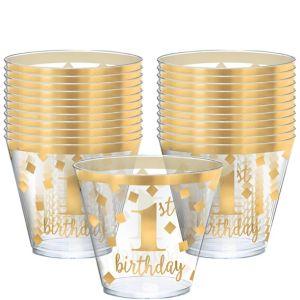 Metallic Gold Confetti 1st Birthday Plastic Tumblers 30ct