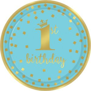 Metallic Blue & Gold Confetti 1st Birthday Lunch Plates 8ct