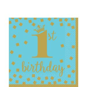 Blue & Gold 1st Birthday Lunch Napkins 16ct