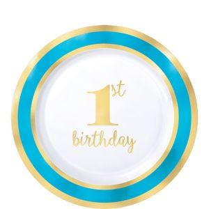 Metallic Blue & Gold 1st Birthday Premium Plastic Dessert Plates 10ct