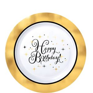 Metallic Gold Birthday Premium Plastic Dessert Plates 10ct