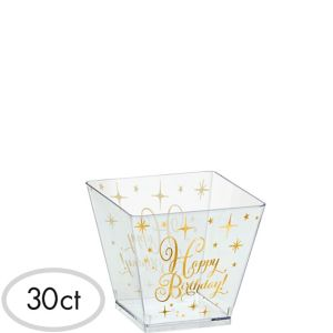 Mini Metallic Gold Birthday Plastic Cubed Bowls 30ct