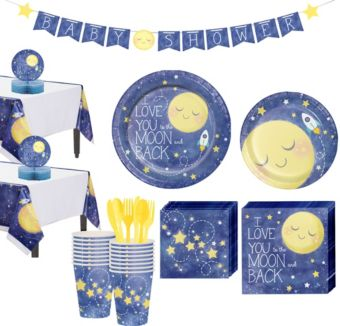 Moon & Stars Premium Baby Shower Tableware Kit for 16 Guests