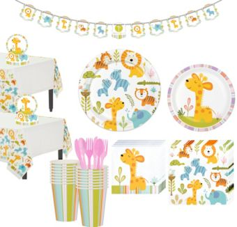 Happy Jungle Giraffe Premium Baby Shower Tableware Kit for 32 Guests